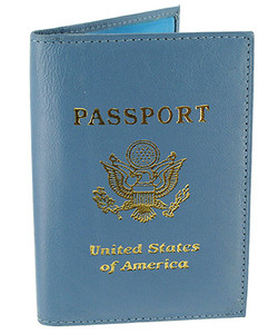 Blue Leather Cover Passport Holder Travel Wallet with Logo