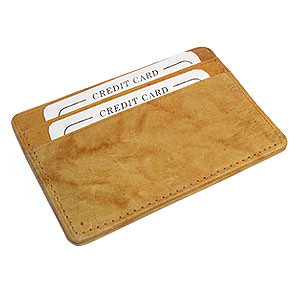 Cowhide Tan Leather Slim Line Credit Card Holder