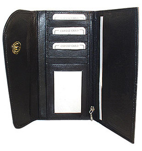 New Genuine Cowhide Black Leather Checkbook 7.25 x 4 inch Wallet