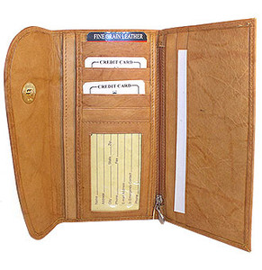 New Genuine Cowhide Tan Leather Checkbook 7.25 x 4 inch Wallet