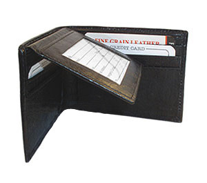 Mens Crocodile Leather Bifold Credit Card Wallet Available in Black and Brown Colors
