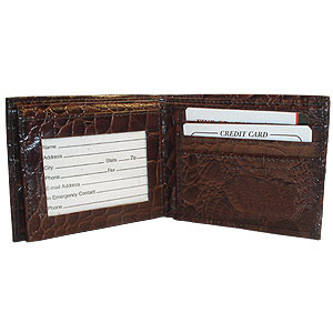 Mens Crocodile Leather Bifold Credit Card Wallet Available in Black and Brown Colors #MW305553