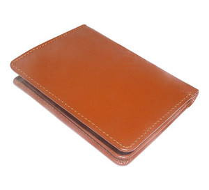Tan Leather Credit Card Holder Wallet