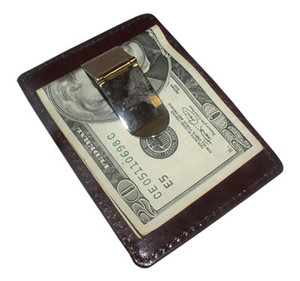 Leather and Metal Money Clip Credit Card Slot