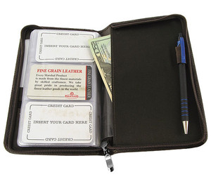 "Cow Hide Leather Business Card Holder 8"" X 5"" Wallet Available in Different Colors #MW3670CF"