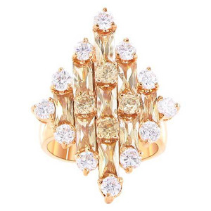 Rose Gold Layered Round Clear Cubic Zirconia Ring