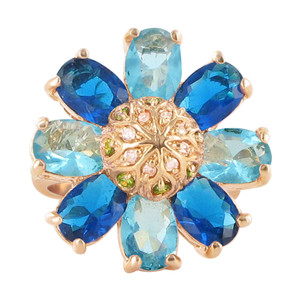 Rose Gold Layered Multicolor Cubic Zirconia Flower Ring