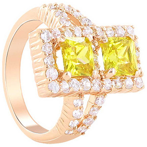 Rose Gold Layered Rectangle Citrine Cubic Zirconia Ring Size 7