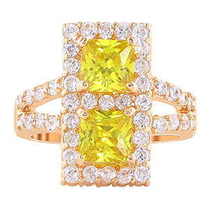 Rose Gold Simulated Citrine Cubic Zirconia Ring