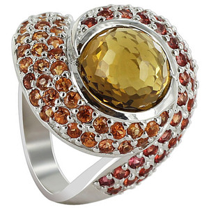 925 Sterling Silver Whisky Quartz Orange and Red Sapphire 3mm Ring Size 7.5