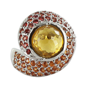 925 Sterling Silver Whisky Quartz Orange and Red Sapphire 3mm Ring