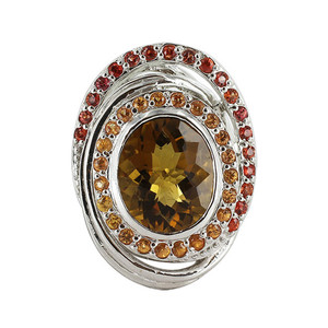 Silver Oval Quartz Orange & Red Sapphire Stone Ring