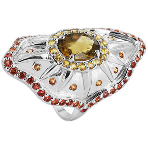 925 Sterling Silver Oval Whisky Quartz and Yellow Orange and Red Sapphire 2mm Ring Size 8