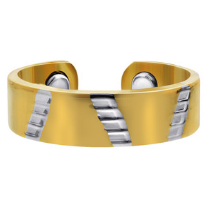 Two Tone Polished Finish Magnetic Band Size 7 & up