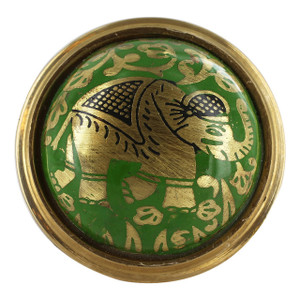 Round Plate with Elephant Design Green Enamel Ring Size 6 to 8 Adjustable