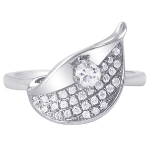 925 Silver Round Clear Cubic Zirconia Leaf Design Ring