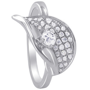 925 Sterling Silver Round Clear Cubic Zirconia Leaf Design Ring