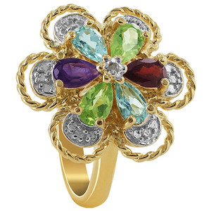 Gold over 925 Sterling Silver Amethyst Garnet Aquamarine and Peridot Gemstone Floral Vermeil Ring