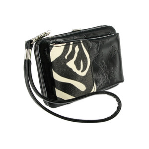 Simple and Stylish Wristlet with a shoulder Black Color Zeebra Strap #WPPW100
