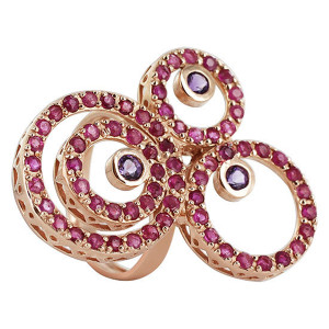 925 Sterling Silver Amethyst and Ruby Swirled Design Ring