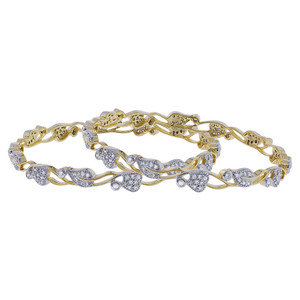 Gold Plated Cubic Zirconia Bollywood Indian Bangle Bracelets Set
