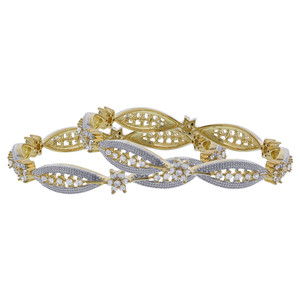 Gold Plated Cubic Zirconia Flower Bollywood Indian Bangle Bracelets Set of 2