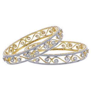 Gold Plated Cubic Zirconia Swirl Design Bollywood Indian Bangle Bracelets Set of 2