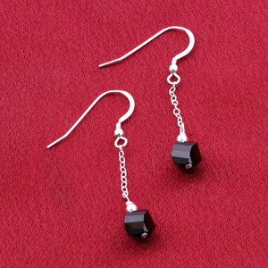Sterling Silver Black Shadow Crystal Dangle Earrings Made with Swarovski Elements