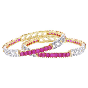 Gold Plated Ruby Color Glass with Cubic Zirconia Bollywood Indian Bangle Bracelets Set of 2