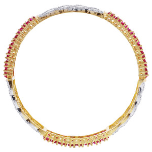 Ruby Glass Cubic Zirconia Bangle Bracelets