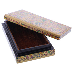 Gold Rustic Hand Painted Floral Design Wide Rectangle Jewelry Box