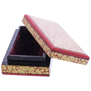 Red Rustic Hand Painted Floral Design Small Rectangle Jewelry Box #GX008