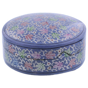Blue Rustic Hand Painted Foliage Design Circle Coaster Box Set