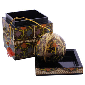 Black Rustic Hand Painted Foliage Design Ornament Cube Box Set