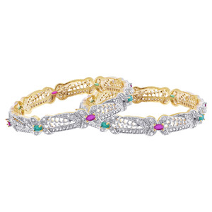 Ruby and Emerald CZ  Bangle Bracelets