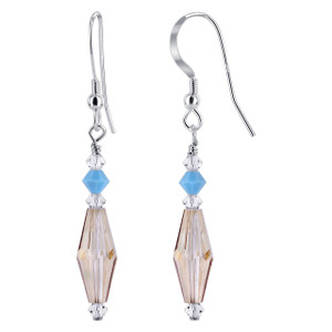 925 Sterling Silver Made With Swarovski Elements Tan and Clear Crystal Handmade Drop Earrings