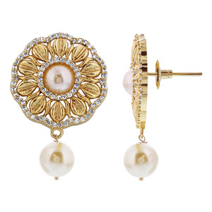 Gold Plated Antique Finish Simulated Pearl Flower Bollywood Indian Earrings Pendant Set #JS173