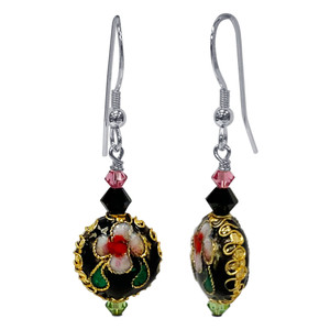 Cloisonne Bead Swarovski Elements Crystal Handmade Drop Earrings