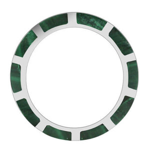 925 Silver Stripes Green Malachite Eternity Band