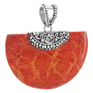 925 Sterling Silver Geo-metric Style Reconstituted Coral 1.2 x 1.8 inch Pendant