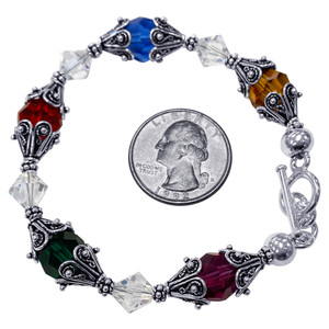 Sterling Silver Swarovski Elements Multicolor Crystal with Bali Beads Cap Handmade Bracelet