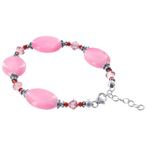 925 Silver Pink Glass Beads with Swarovski Crystal Bracelet  Adjustable
