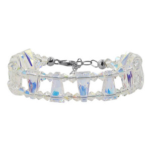 925 Sterling Silver Made with Swarovski Elements Clear AB Crystal Handmade Bracelet 6.5 to 8.25 inch Adjustable