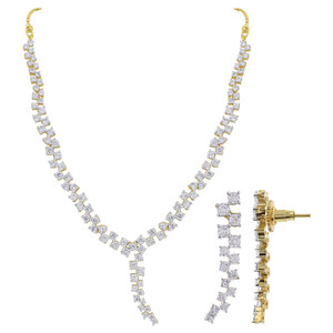 Gold Plated Clear Cubic Zirconia 17.5 inch Bollywood Indian Necklace Earrings Set