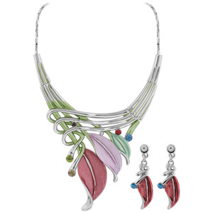 Multi Color Leaves and Rhinestone Silver Tone Fashion Earrings 18.25 inch Necklace Set