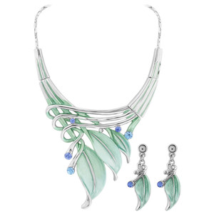 Green Leaves and Rhinestone Silver Tone Fashion Earrings 18.25 inch Necklace Set