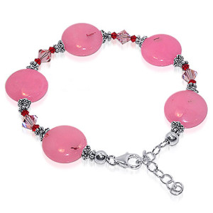 Sterling Silver Pink Gemstone with Swarovski Elements Crystal Handmade Bracelet