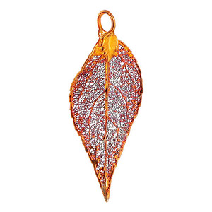 Iridescent Copper Plated Evergreen Real Leaf Pendant