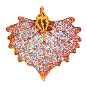 Iridescent Copper Plated 36 x 31mm Cottonwood Real Leaf Pendant