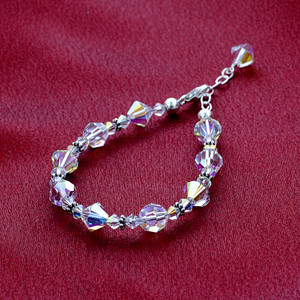 Beads Bicon & Ball shape faceted Crystal Sterling Silver Bracelet 8 inch